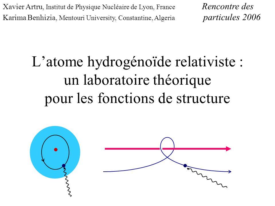 Xavier Artru, Institut de Physique Nucléaire de Lyon, France Rencontre des