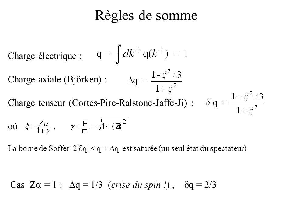 Règles de somme Charge électrique : Charge axiale (Björken) :