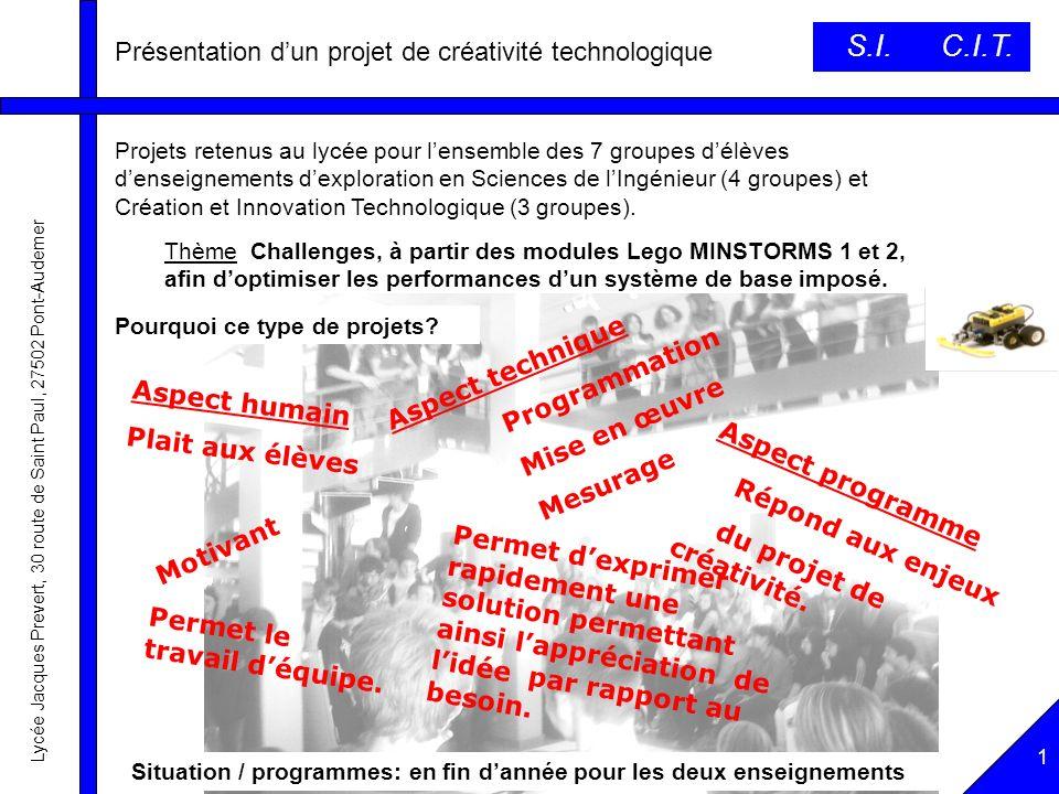 S.I. C.I.T. Présentation d'un projet de créativité technologique