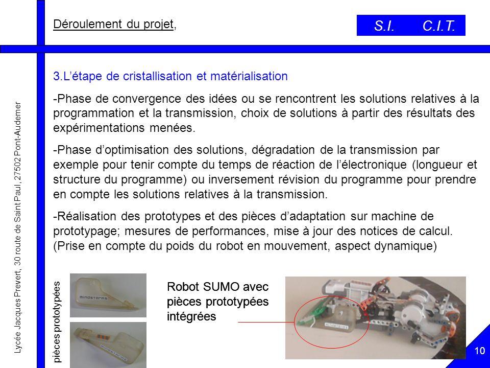 S.I. C.I.T. Déroulement du projet,