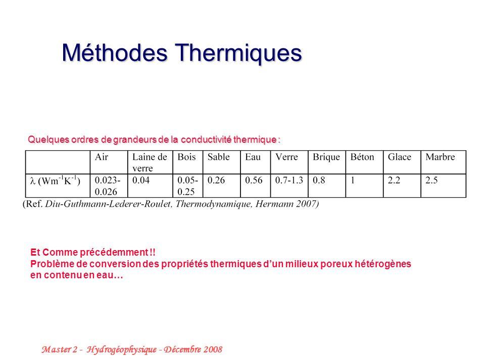 Méthodes Thermiques Master 2 - Hydrogéophysique - Décembre 2008