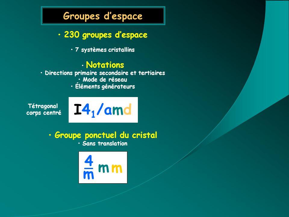 I41/amd 4 m Groupes d'espace 230 groupes d'espace