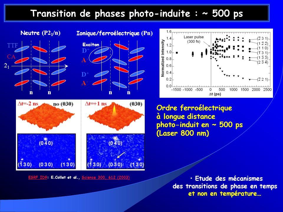 Transition de phases photo-induite : ~ 500 ps