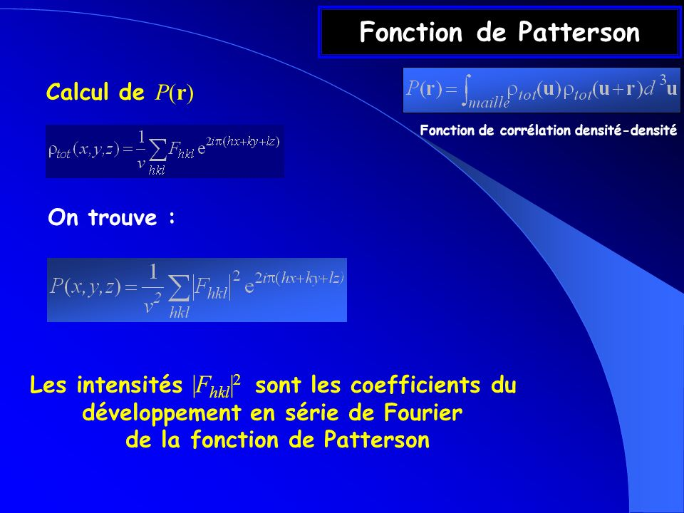 Fonction de Patterson Calcul de P(r) On trouve :