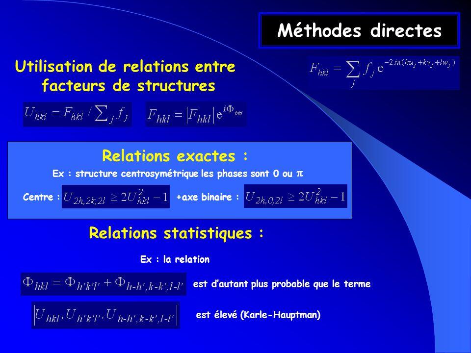Méthodes directes Utilisation de relations entre