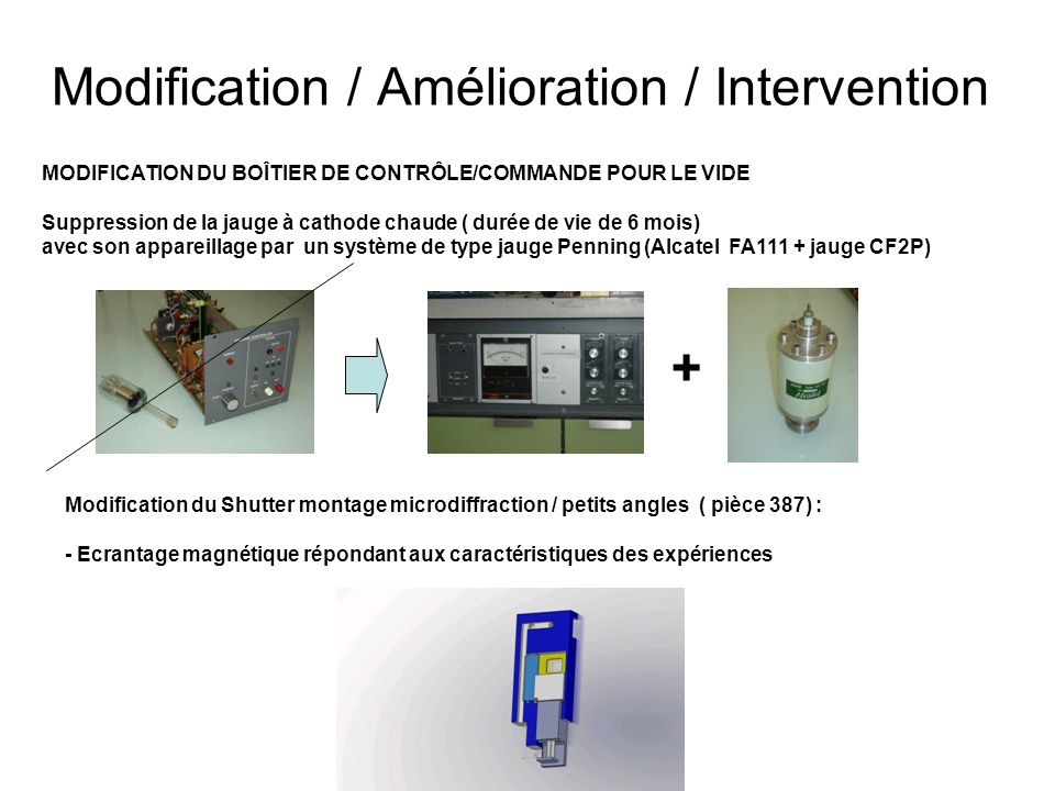 Modification / Amélioration / Intervention