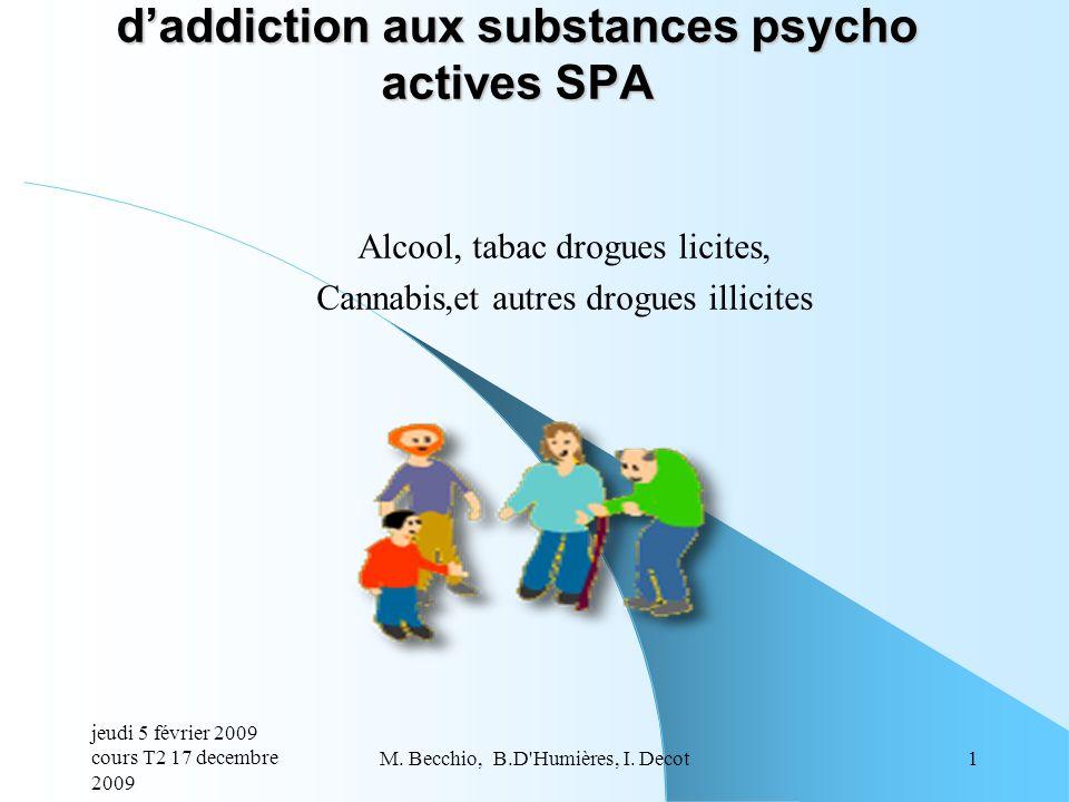 Alcool, tabac drogues licites, Cannabis,et autres drogues illicites