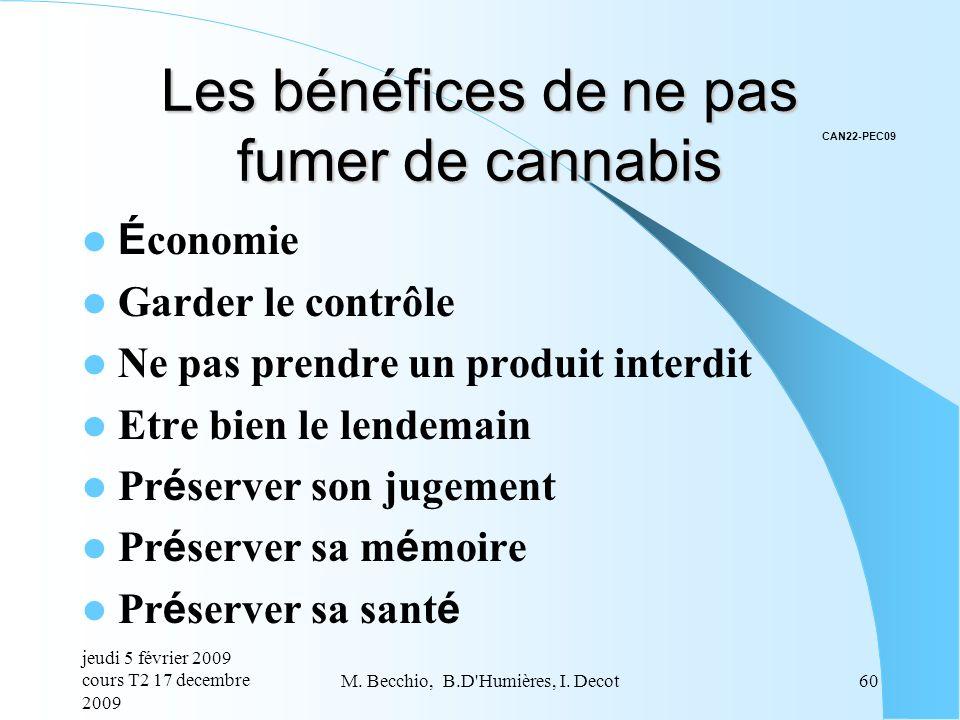 Les bénéfices de ne pas fumer de cannabis