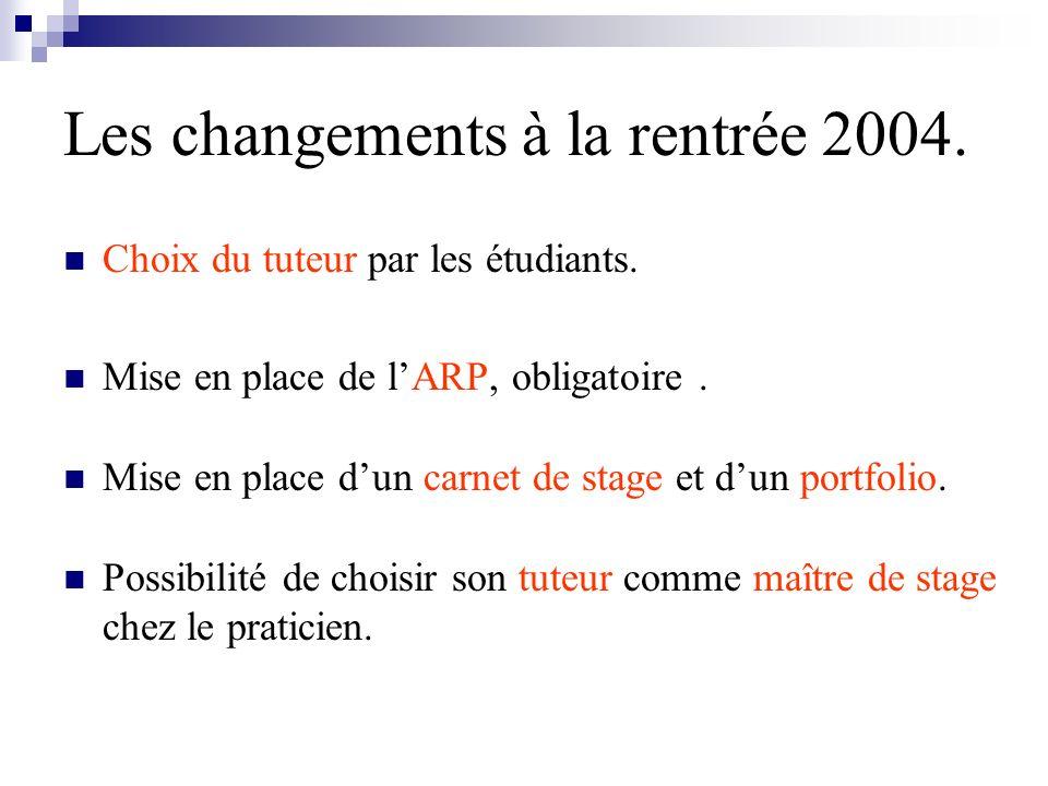 Les changements à la rentrée 2004.