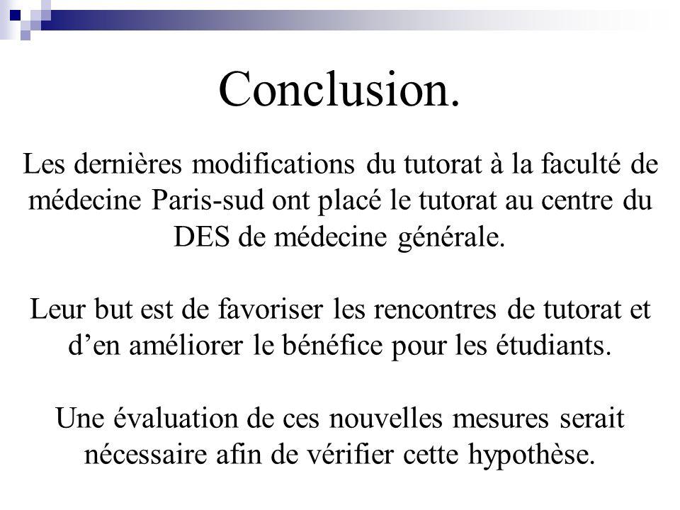 Conclusion. Les dernières modifications du tutorat à la faculté de médecine Paris-sud ont placé le tutorat au centre du DES de médecine générale.