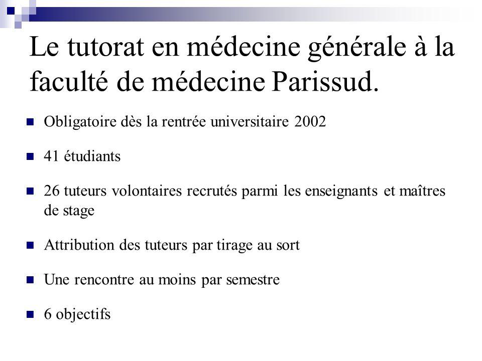 Le tutorat en médecine générale à la faculté de médecine Parissud.