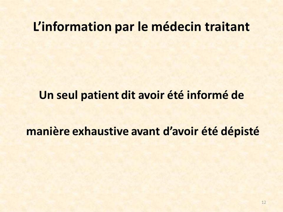 L'information par le médecin traitant