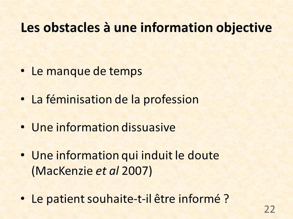 Les obstacles à une information objective