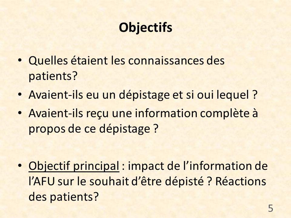 Objectifs Quelles étaient les connaissances des patients