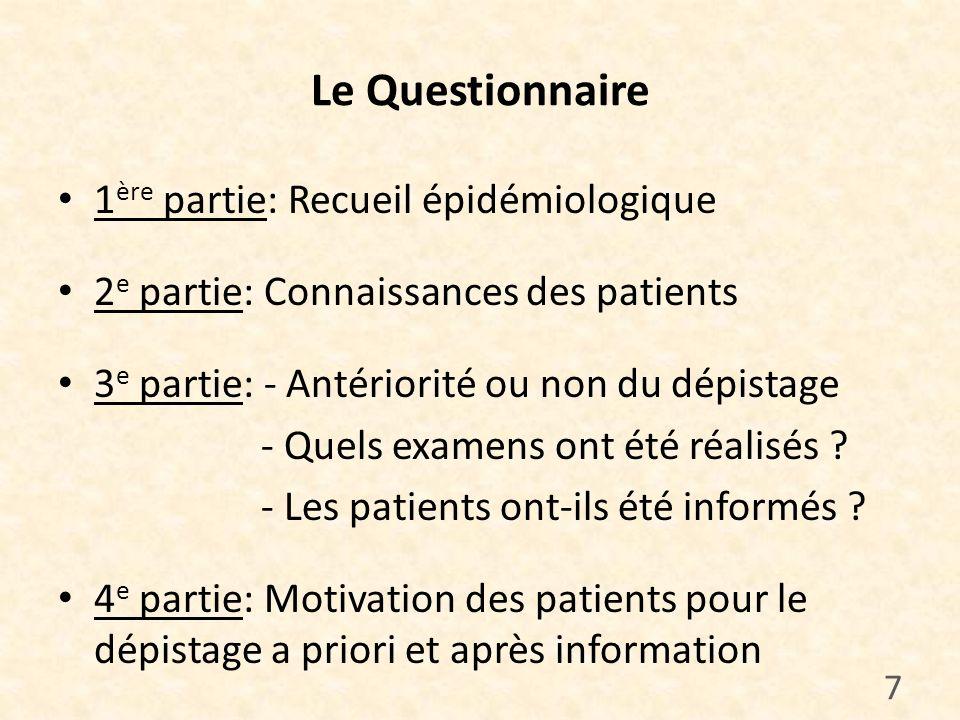Le Questionnaire 1ère partie: Recueil épidémiologique