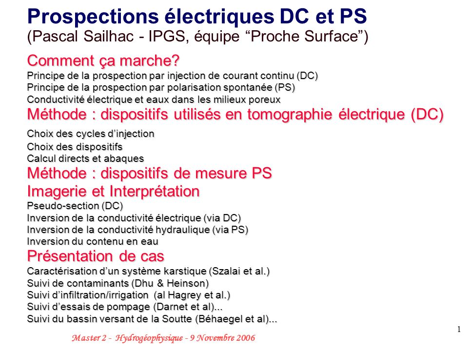 Prospections électriques DC et PS