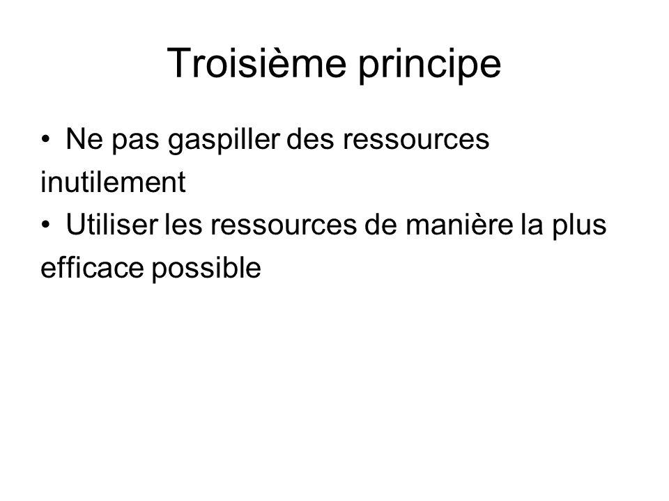 Troisième principe Ne pas gaspiller des ressources inutilement