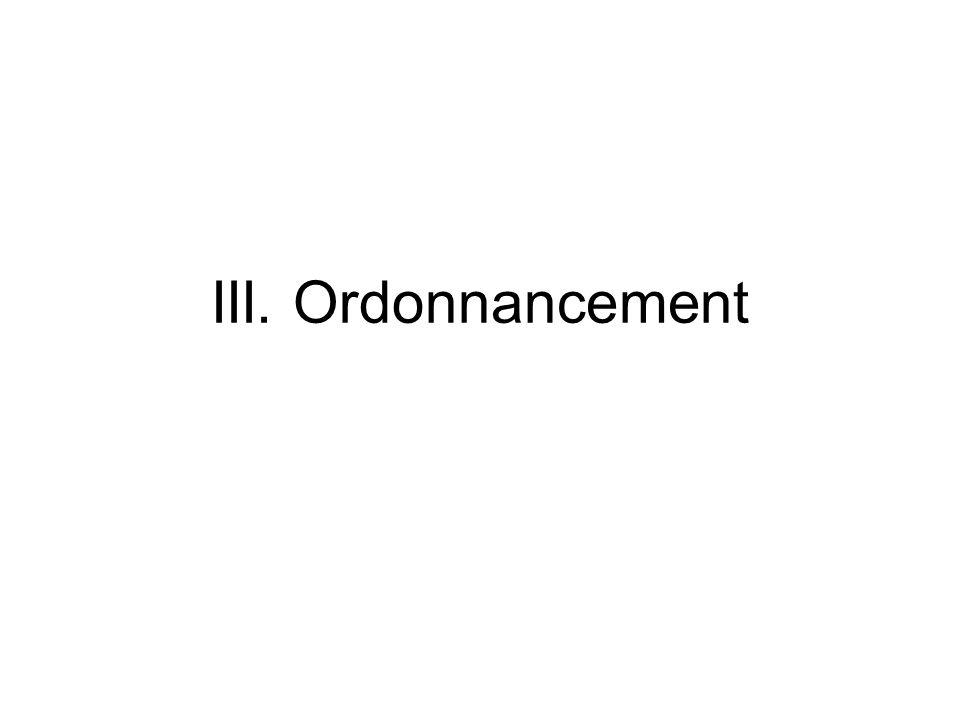 III. Ordonnancement
