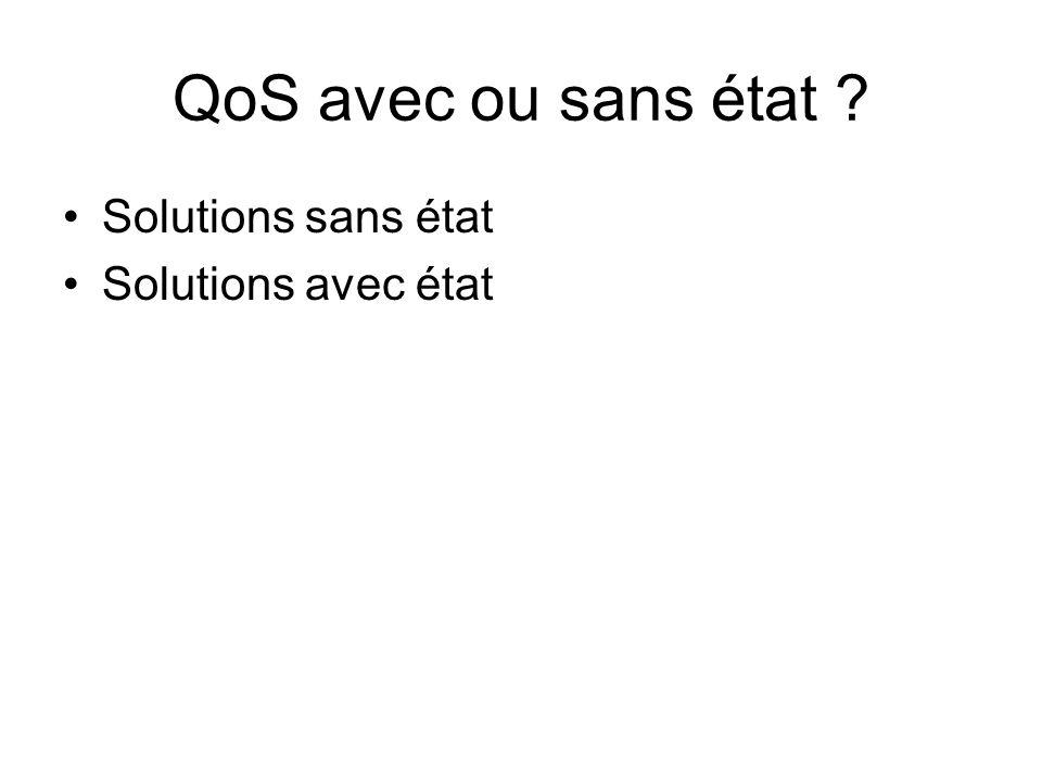 QoS avec ou sans état Solutions sans état Solutions avec état