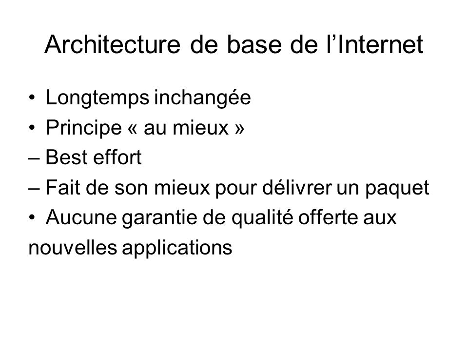 Architecture de base de l'Internet