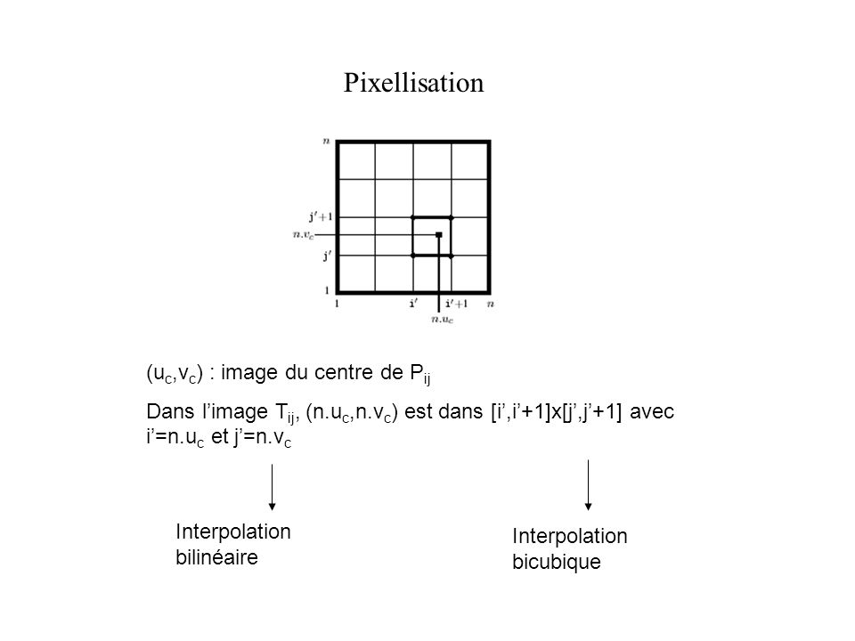Pixellisation (uc,vc) : image du centre de Pij