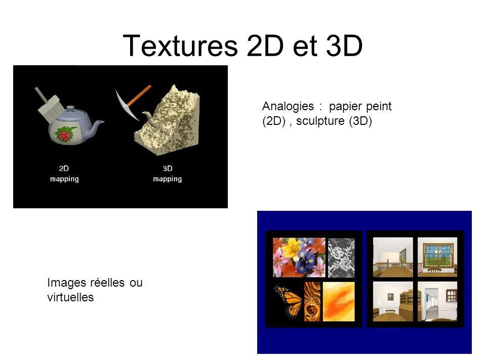 Textures 2D et 3D Analogies : papier peint (2D) , sculpture (3D)