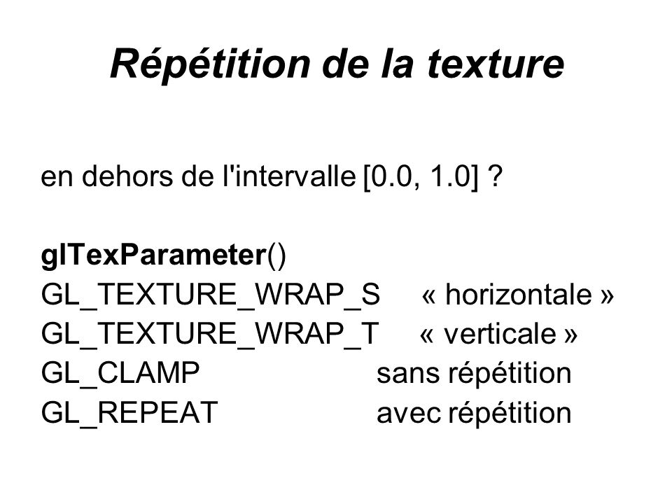Répétition de la texture