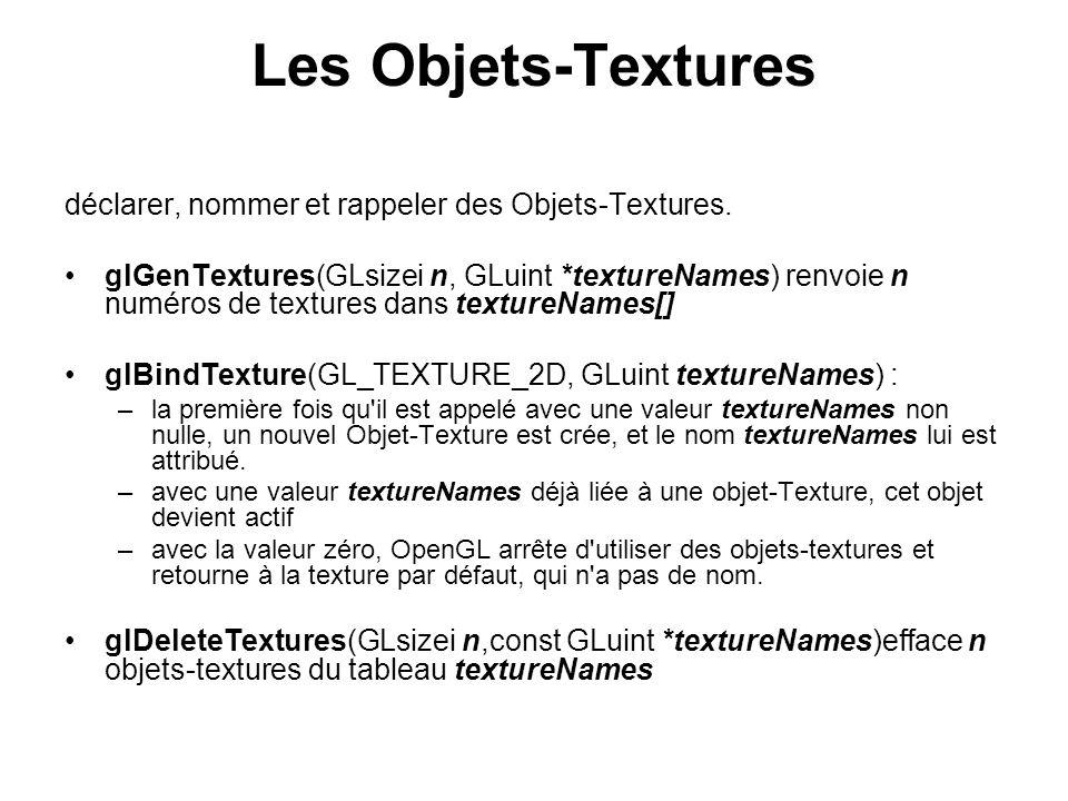 Les Objets-Textures déclarer, nommer et rappeler des Objets-Textures.