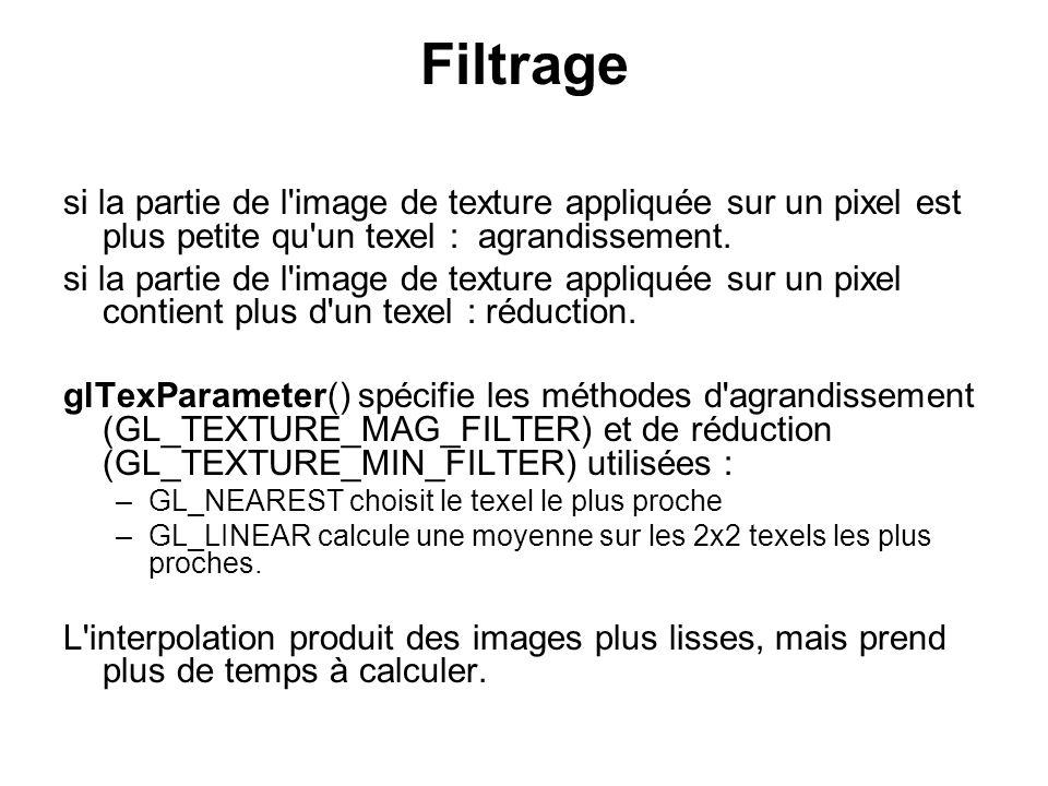 Filtrage si la partie de l image de texture appliquée sur un pixel est plus petite qu un texel : agrandissement.