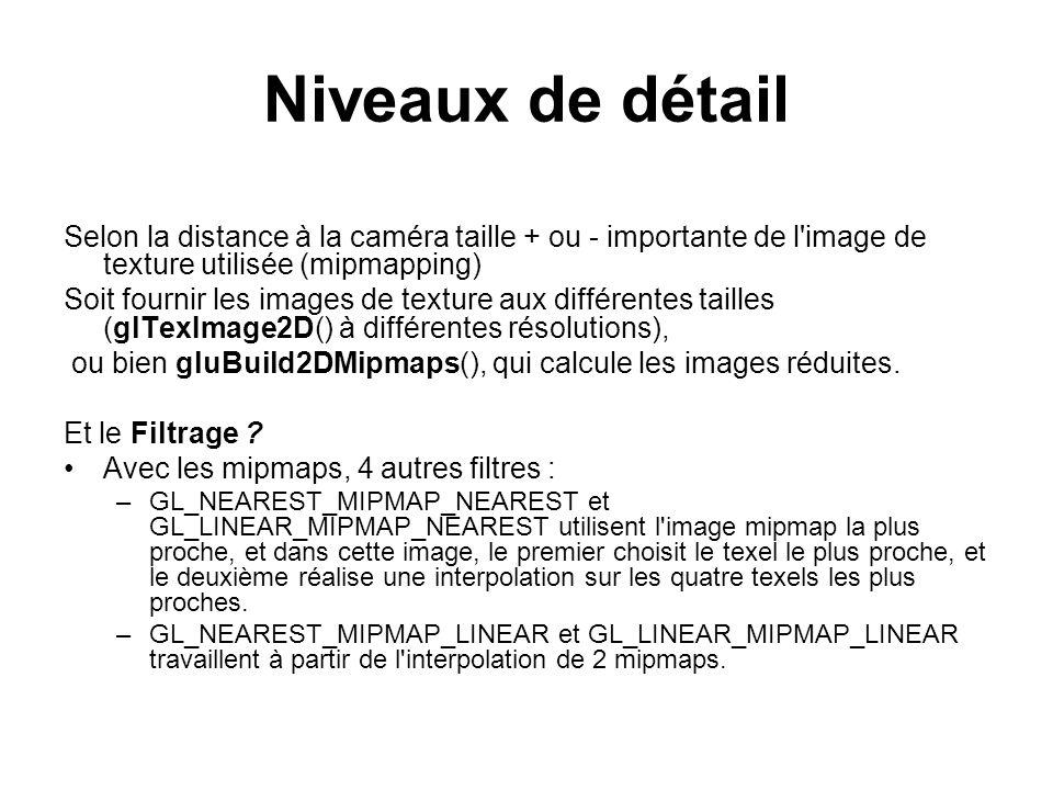 Niveaux de détail Selon la distance à la caméra taille + ou - importante de l image de texture utilisée (mipmapping)