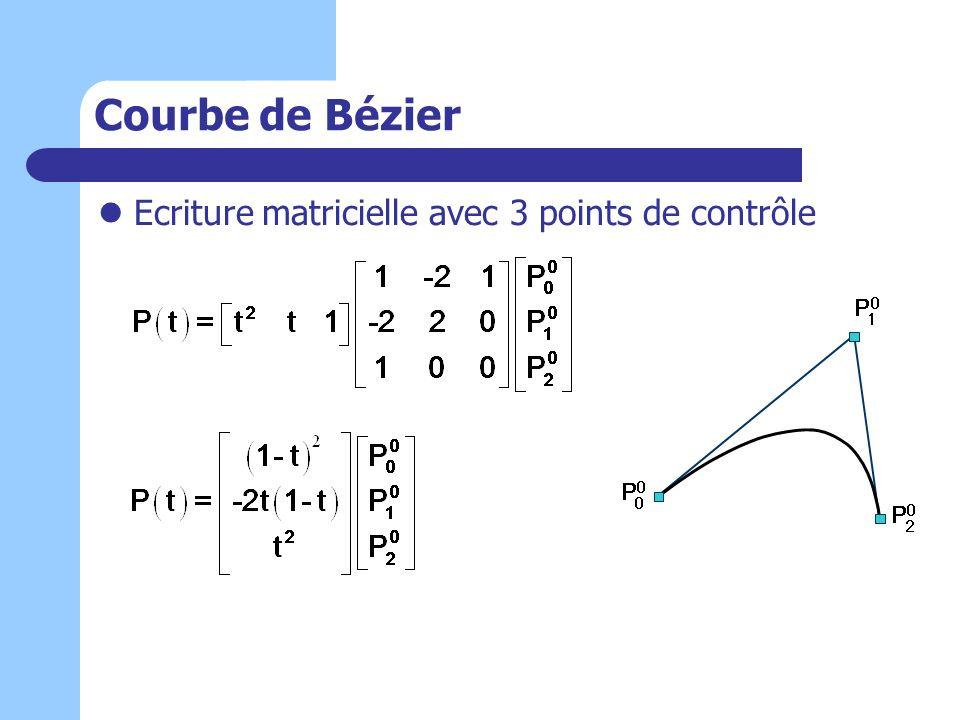 Courbe de Bézier Ecriture matricielle avec 3 points de contrôle