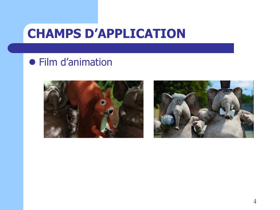 CHAMPS D'APPLICATION Film d'animation 4