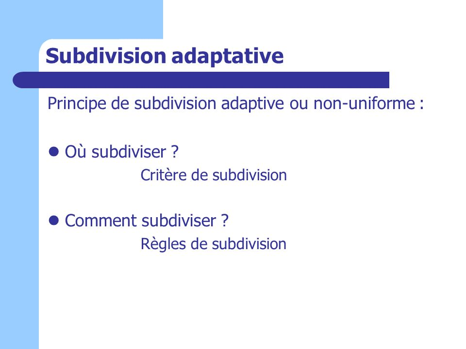 Subdivision adaptative