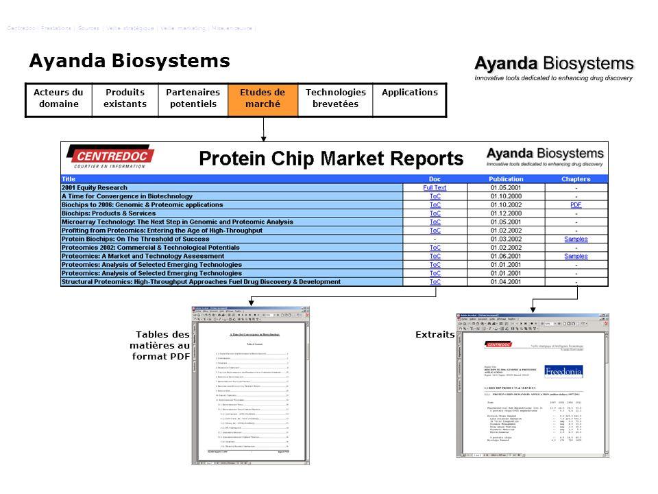 Ayanda Biosystems Tables des matières au format PDF Extraits