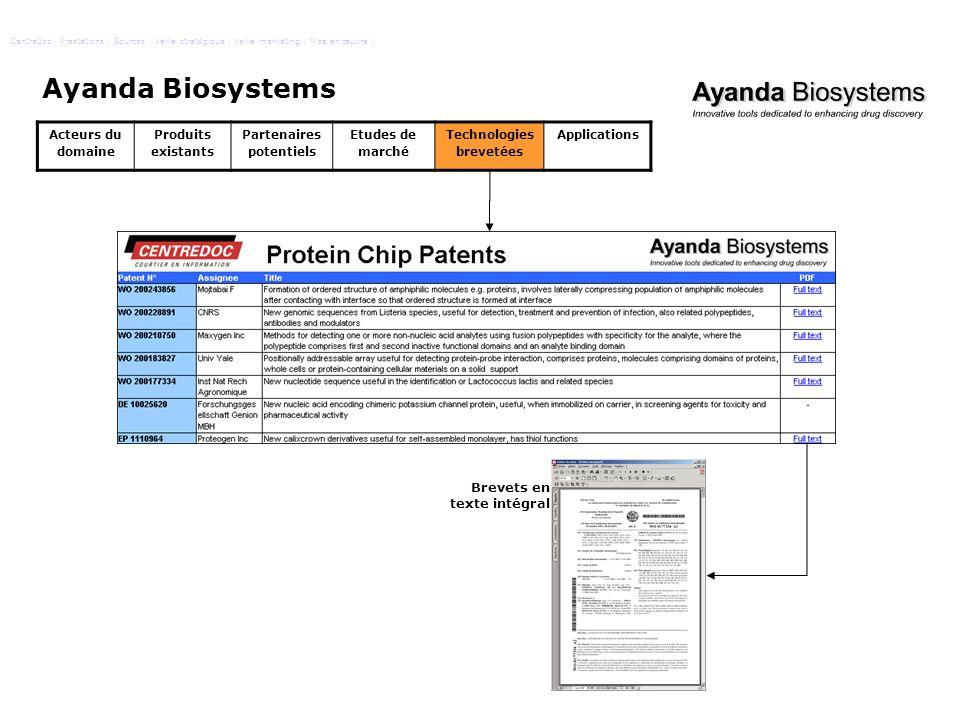 Ayanda Biosystems Brevets en texte intégral Acteurs du domaine