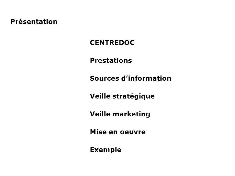 PrésentationCENTREDOC. Prestations. Sources d'information. Veille stratégique. Veille marketing. Mise en oeuvre.
