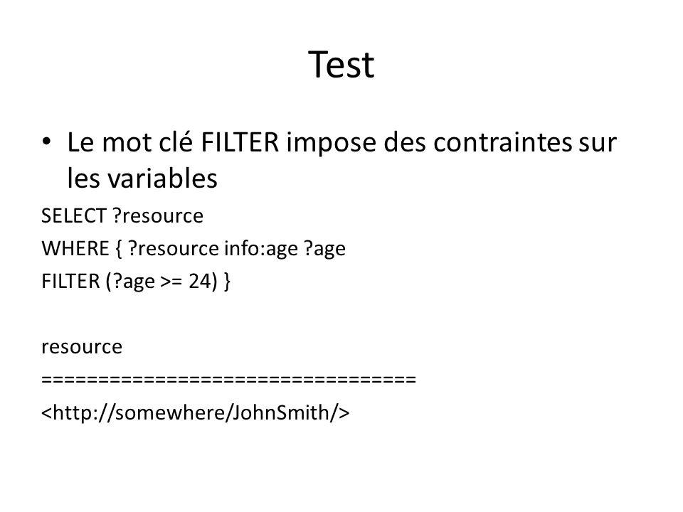 Test Le mot clé FILTER impose des contraintes sur les variables