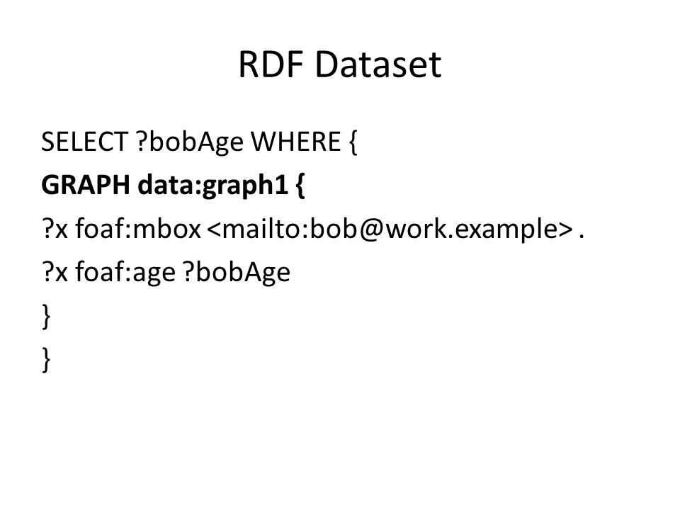 RDF Dataset SELECT bobAge WHERE { GRAPH data:graph1 { x foaf:mbox <mailto:bob@work.example> .