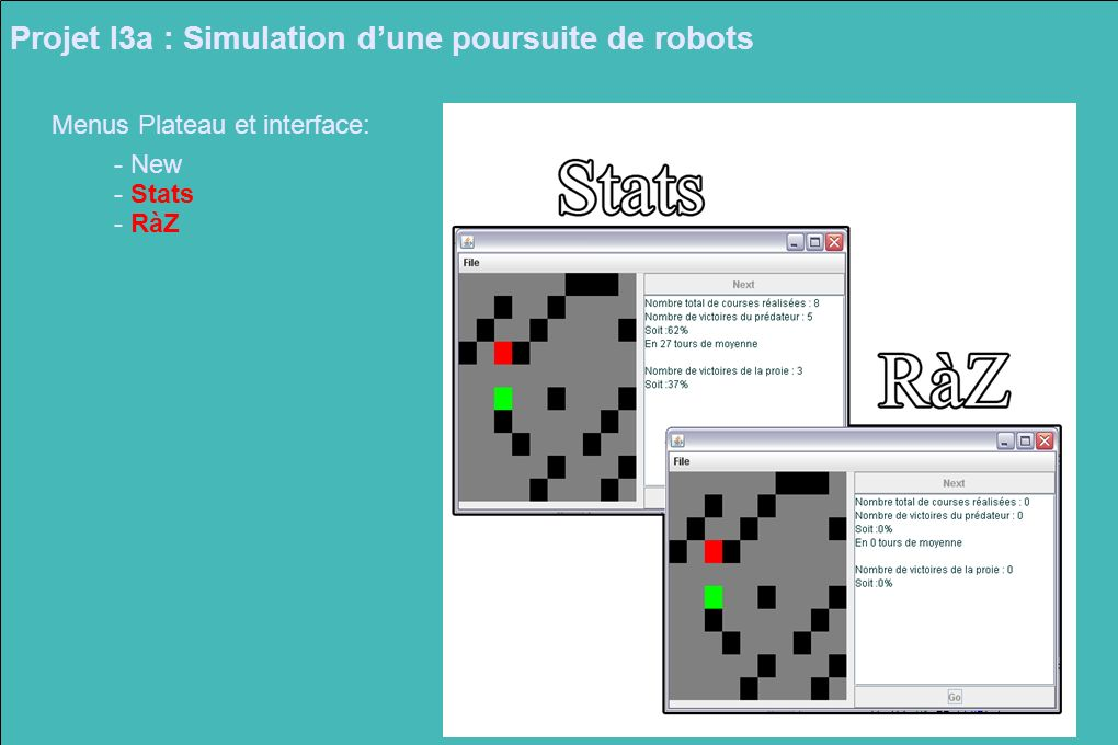 Projet I3a : Simulation d'une poursuite de robots