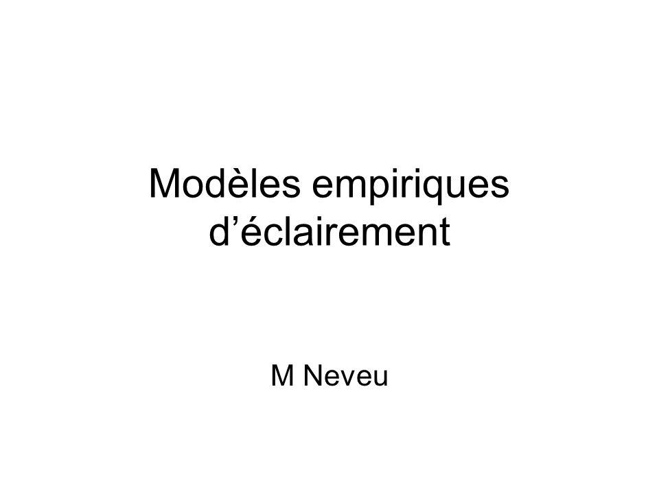 Modèles empiriques d'éclairement