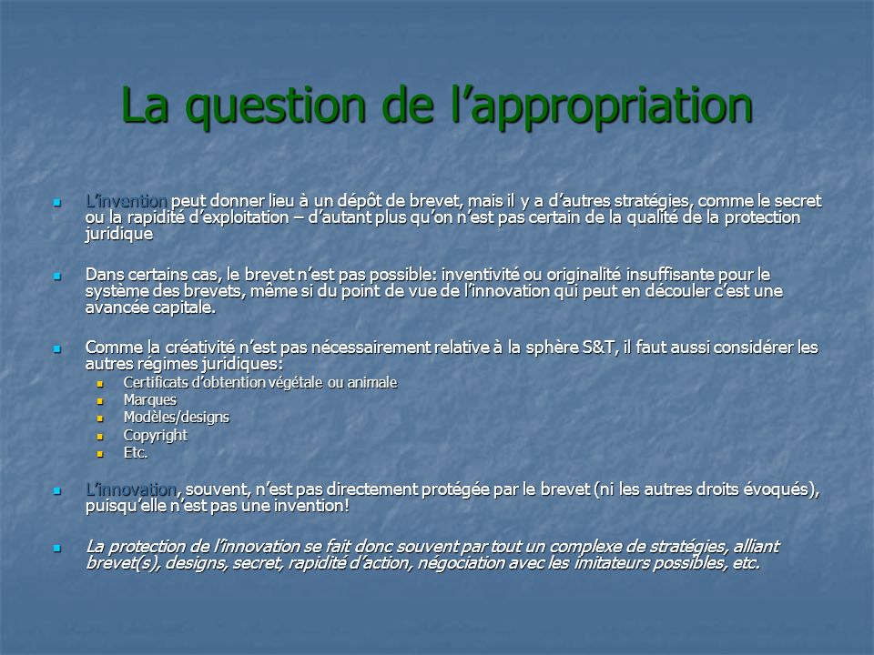 La question de l'appropriation