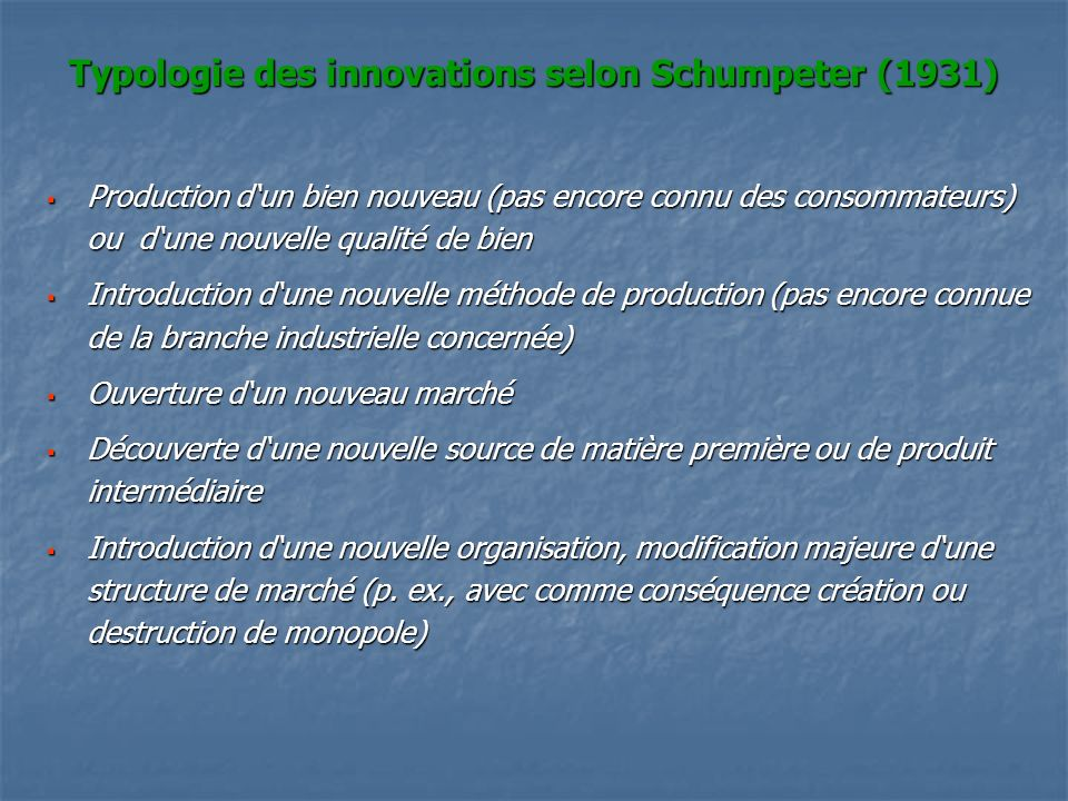 Typologie des innovations selon Schumpeter (1931)