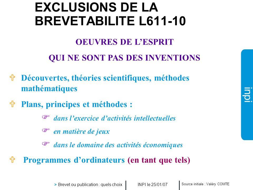 EXCLUSIONS DE LA BREVETABILITE L611-10