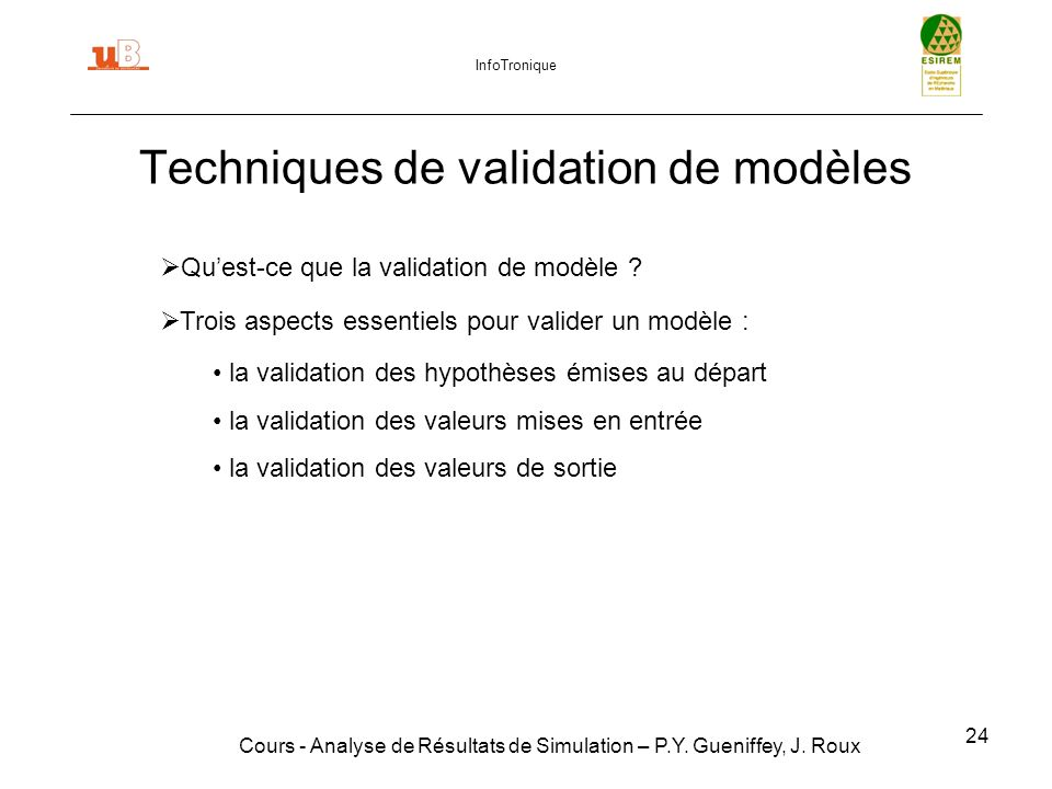 Techniques de validation de modèles