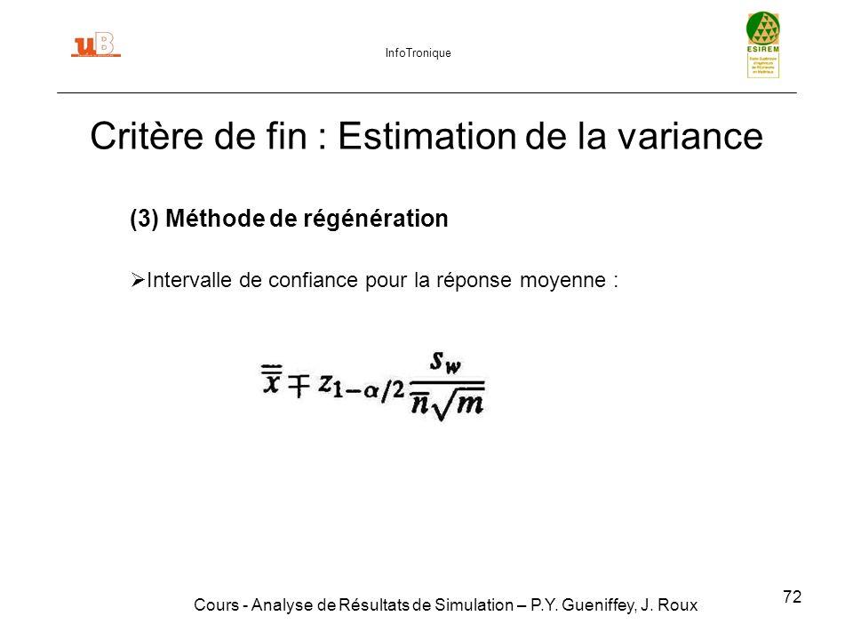 Critère de fin : Estimation de la variance