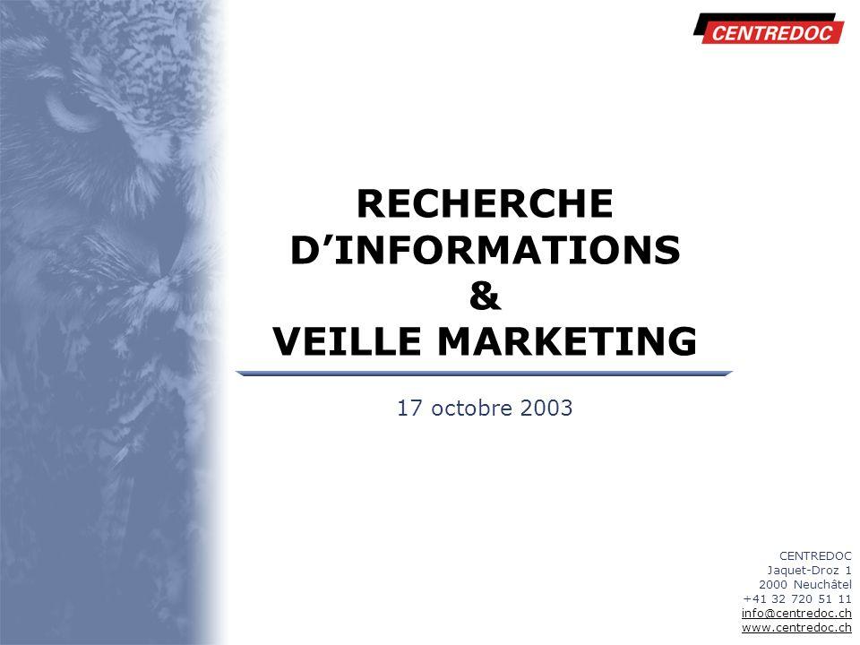 RECHERCHE D'INFORMATIONS & VEILLE MARKETING