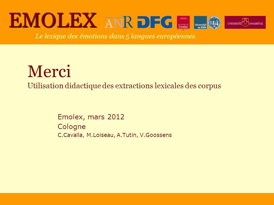 Merci Utilisation didactique des extractions lexicales des corpus