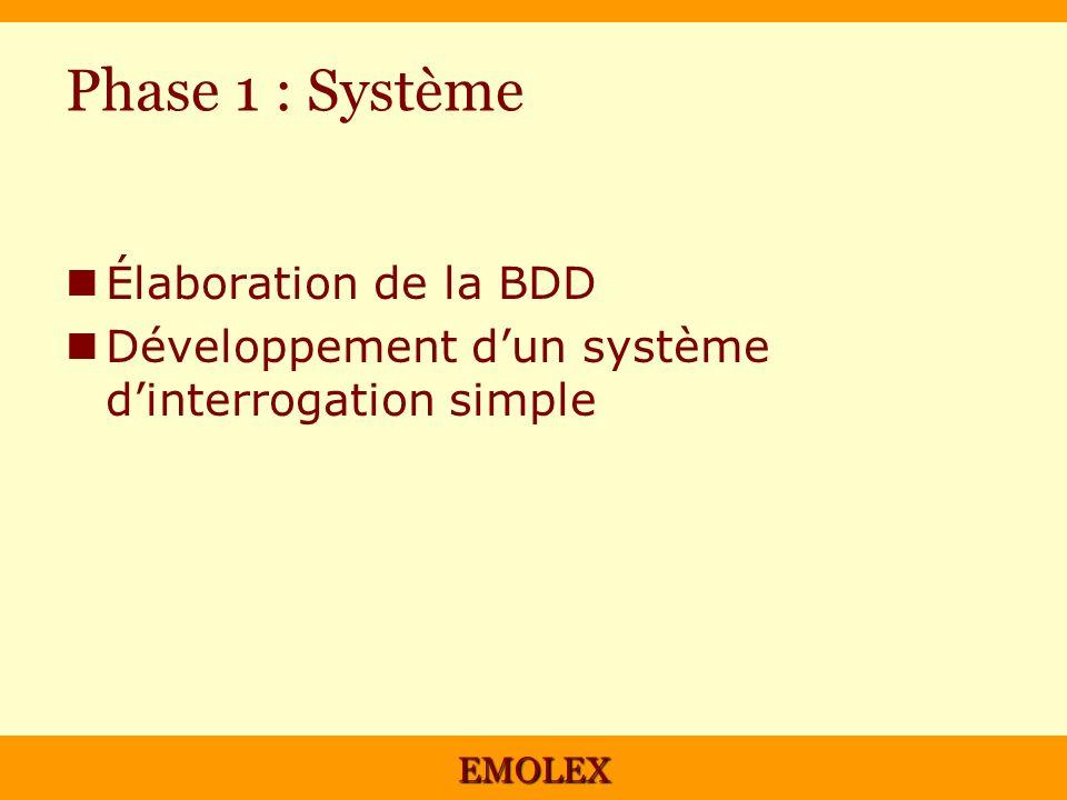Phase 1 : Système Élaboration de la BDD