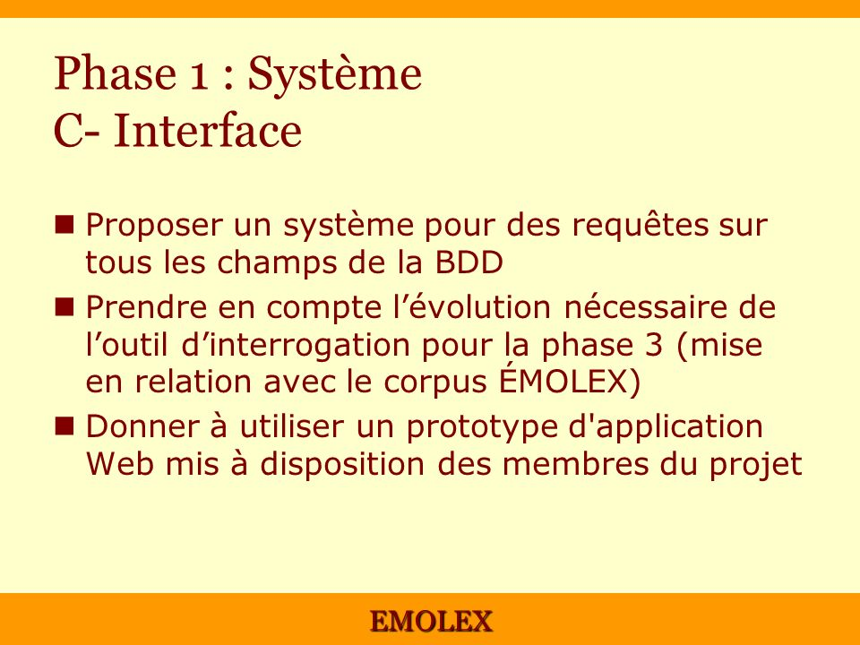 Phase 1 : Système C- Interface