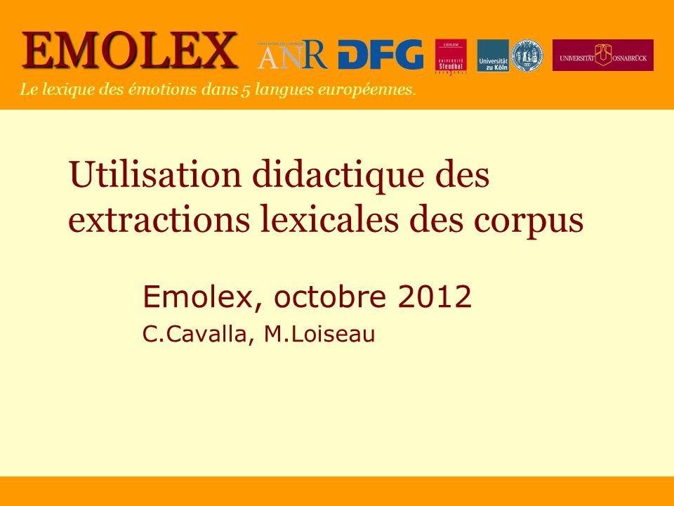 Utilisation didactique des extractions lexicales des corpus